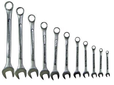 Adjustable Clamp 11 Piece Chrome Plated Combination Wrench Set, SAE