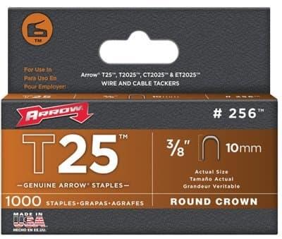 3/8'' Round Crown Staples, 1000 Per Box