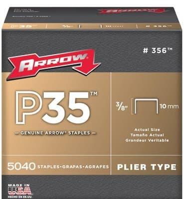 Arrow 3/8'' Plier Staples, 5000 Per Box