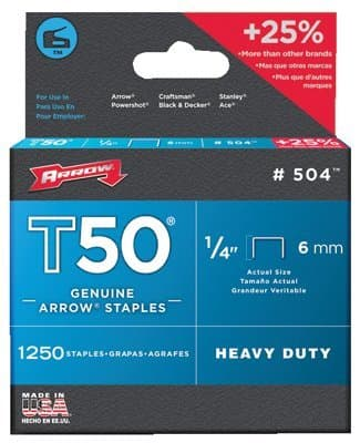 1/4'' Type Staples, 1250 Per Box