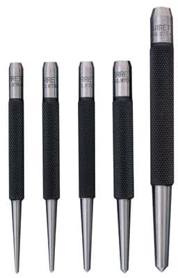 5 Piece Steel Center Punch Set with Round Stock Shape and Pointed Tip