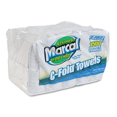 Marcal Embossed Paper Towels, C-fold, White