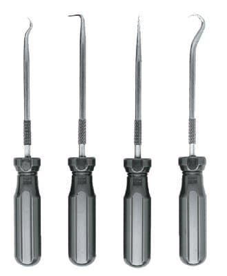 4 Piece Individual Hook and Pick Set W/ Screwdriver type Handles