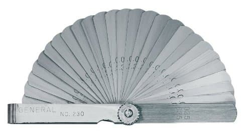 """General Tools 26-Leaf 3"""" Feeler Gage .0015"""" To .025"""""""