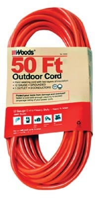 Woods Wire Outdoor Round Vinyl Extension Cords 50 ft