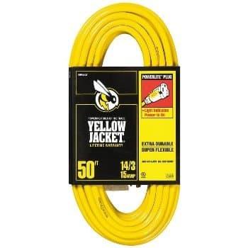 50FT Vinyl Indoor Extension Cord, Yellow