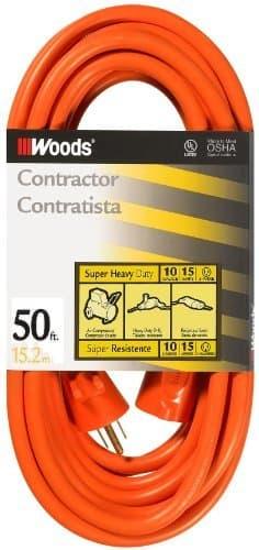 Woods Wire 50FT SJTW Extension Cord, Orange