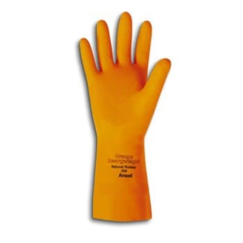 """Ansell 13"""" 30 MIL Large Orange Natural Rubber Latex Gloves"""