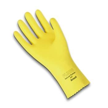 "Ansell 12"" 20 Mil Lemon Yellow Natural Rubber Latex Gloves"