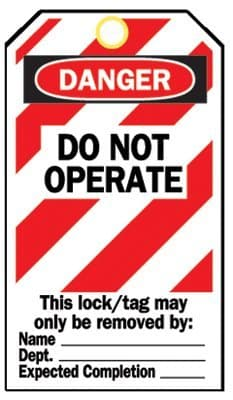 """Heavy Duty """"Do Not Operate"""" Lockout Tag"""