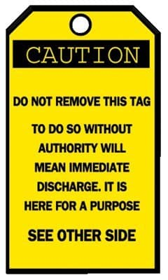 """3-1/4""""X5-5/8"""" Blank Accident Prevention """"Caution"""" Tags"""