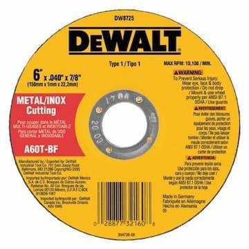 "Dewalt 6"" x .040"" x 7/8"" A60T Metal Thin Cut-Off Wheel"