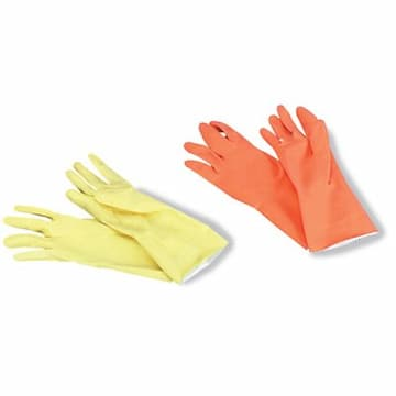 Boardwalk Flock-Lined Latex Cleaning Gloves, Extra-Large, Yellow, Dozen