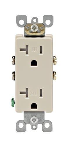 15 Amp Tamper Resistant Decora Duplex Receptacle Outlet, Almond