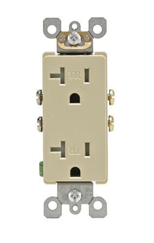 15 Amp Tamper Resistant Decora Duplex Receptacle Outlet, Ivory