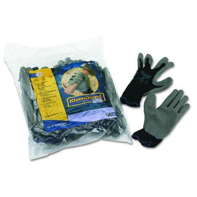 Kimberly-Clark Gray, KLEENGUARD G40 Latex Coated Poly-Cotton Gloves- Large/#9