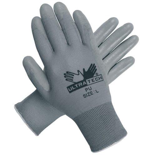 Ultra Tech Foam Seamless Nylon Knit Gloves, Small, White/Gray