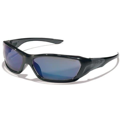ForceFlex Safety Glasses, Black Frame, Blue Lens