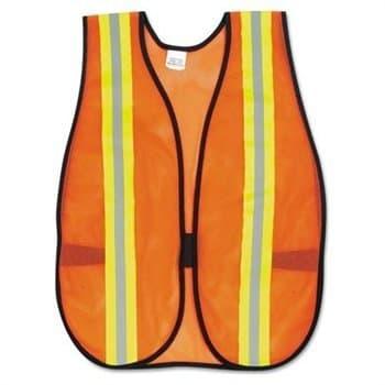 Orange Safety Vest, Reflective Strips Polyester Side Straps One Size