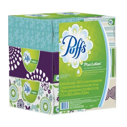 Procter & Gamble Puffs Plus w/Lotion White Facial Tissue 124 Count