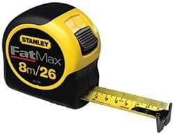 Stanley 1-1/4 X 8M/25 FatMax Reinforced with Blade Armor Tape Rule