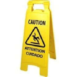 Yellow, 2-Sided Plastic Caution Safety Sign For Wet Floors-11 x 1.5 x 26