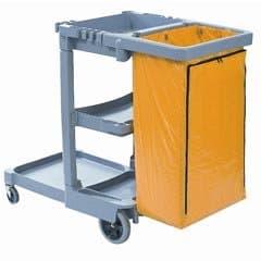 Boardwalk Janitor's Cart, 3 Shelves, Gray