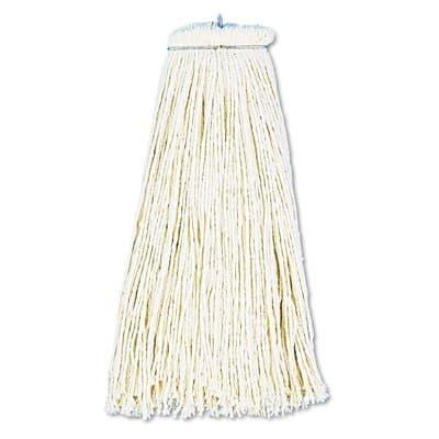White, Cotton Fiber Economical Lie-Flat Mop Head-12-oz