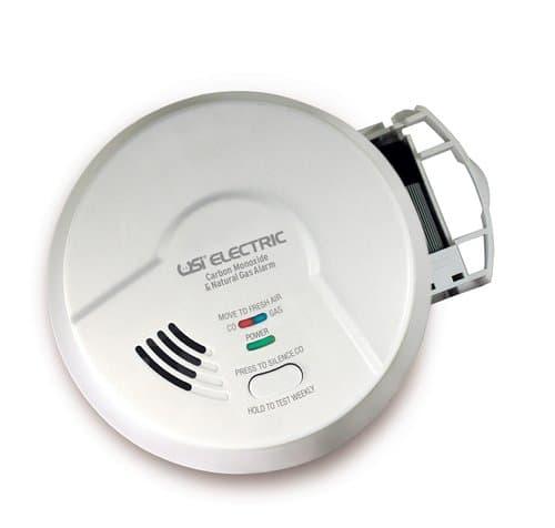 USI Carbon Monoxide & Natural Gas Detector, 120V Hardwired w/ Battery