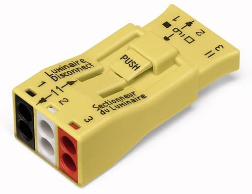 Wago 3-Pole Luminaire Ballast Disconnect Pushwire Connector