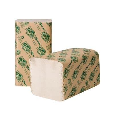 Wausau EcoSoft Green Seal Folded Towels, 9 x 10, Natural White, 250/Pack, 16 Packs/Carton
