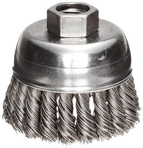 """2-3/4"""" Single Row Wire Cup Brush with .02 Bristle Diameter"""