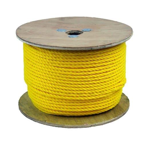 "1/2"" x 600' Yellow Twisted Monofilament Polypropylene Rope"