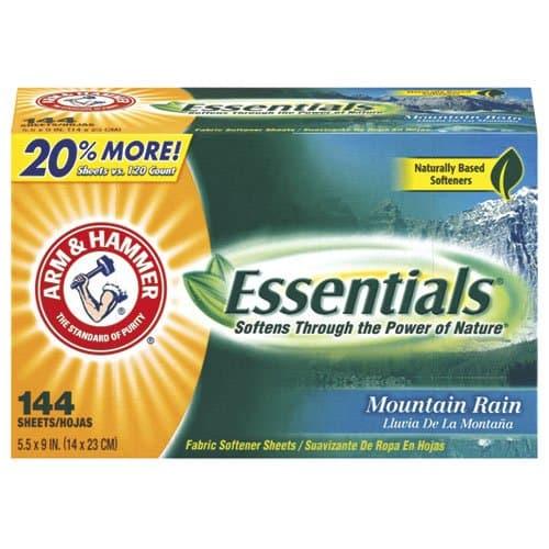 Arm & Hammer Essentials Mountain Rain Fabric Softener Sheets