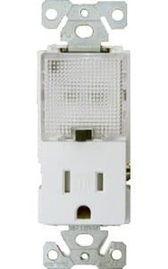 GP 15 Amp Receptacle Outlet w/ Nightlight, White