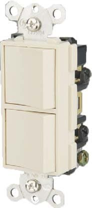 GP 15 Amp Single Pole Double Rocker Switch, White