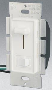 GP Single Pole 700W Slide Dimmer w/ Rocker Switch, White