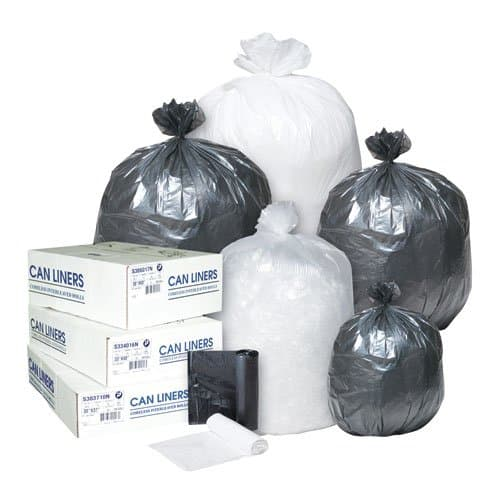 Integrated Bagging Systems Black 8 Micron Commercial Coreless Roll 12-16 Gal Can Liners