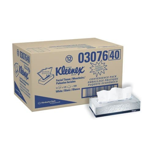 Kimberly-Clark KLEENEX White 2-Ply Facial Tissue in Flat Box, Convenience Case