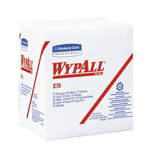 Kimberly-Clark WypAll X70 White Manufactured quarter-fold Rags