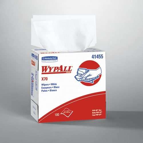 Kimberly-Clark WypAll X70 White Manufactured Rags in POP-UP Box