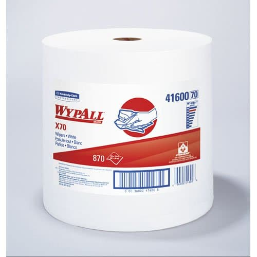Kimberly-Clark WypAll X70 White Manufactured Jumbo Roll Rags