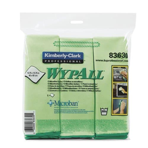 Kimberly-Clark WypAll Green Microfiber Cleaning Cloths w/ Microban Protection
