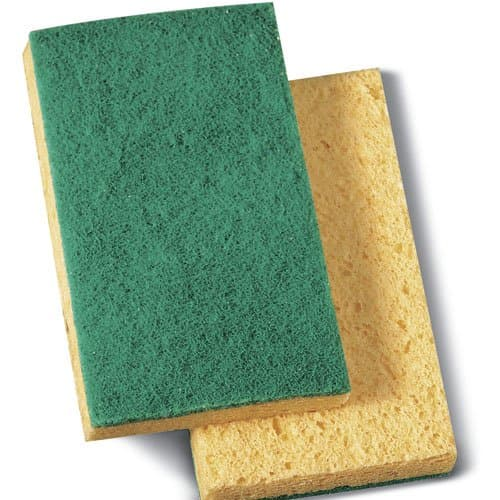 Boardwalk Yellow/Green Medium-Duty Scrubbing Sponge Pad