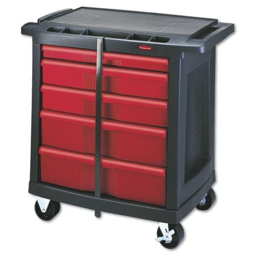 Black/Red Five-Drawer Mobile Workcenter