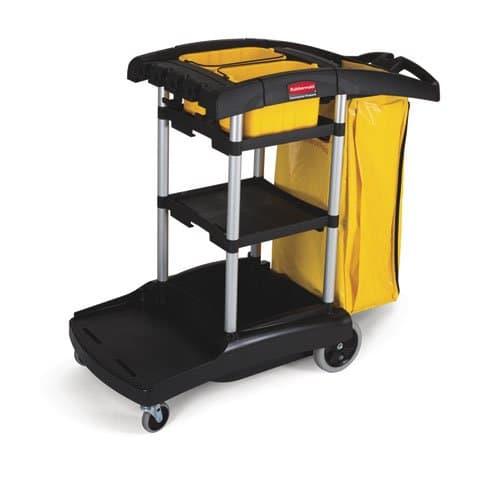 Black High-Capacity Cleaning Cart w/ Yellow 33 Gal Zippered Bag