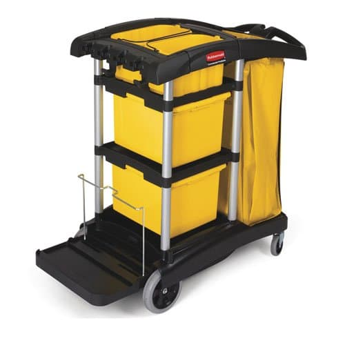 Rubbermaid Black Microfiber Disinfecting Cart w/ Yellow 33 Gal Zippered Bag