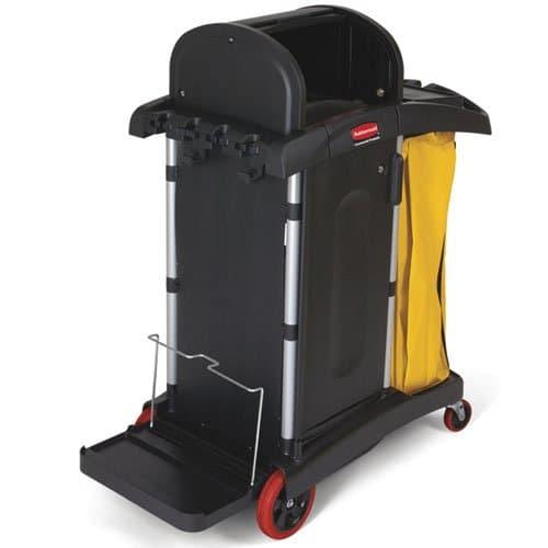 Rubbermaid Black Janitor Cart w/ Locking Cabinet Doors