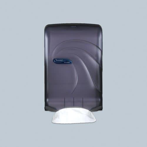 San Jamar Black Large-Capacity Oceans Towel Dispenser for C-Fold/Multifold