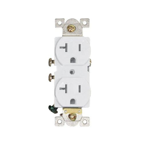AH Lighting 20 Amp, Duplex Receptacle Outlet, White